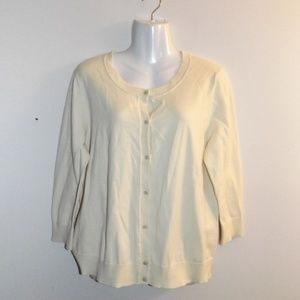 Talbots Yellow Pima Cotton Cardigan XL